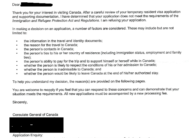 How can gcms notes help when any canada visa rejectedrefused below is a sample rejection letter for visitor visa the letter may be vague to understand exact reasons why the visa was rejected altavistaventures Image collections